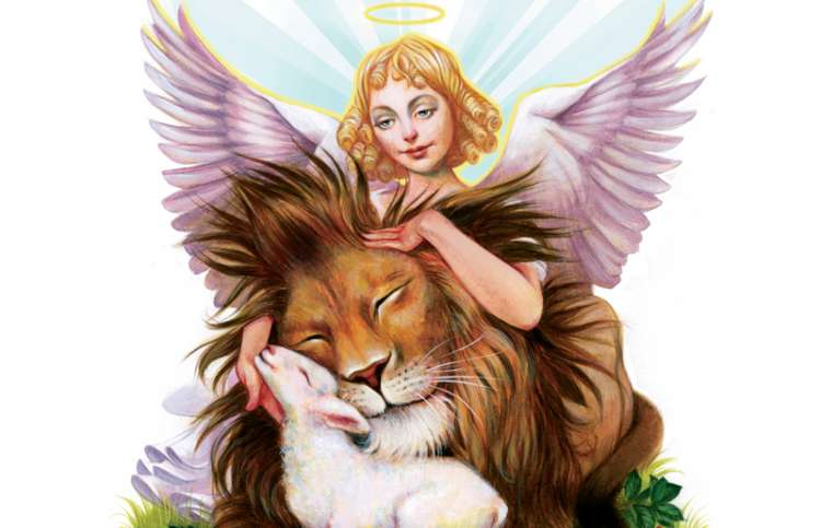 An artist's rendering of an angel, a lion and a lamp ebracing