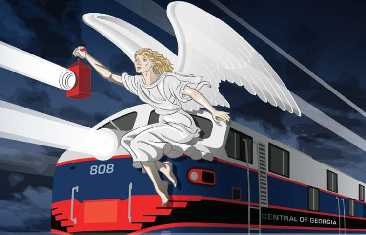 Artist's rendering of an angel perched atop a speeding train, holding a lantern