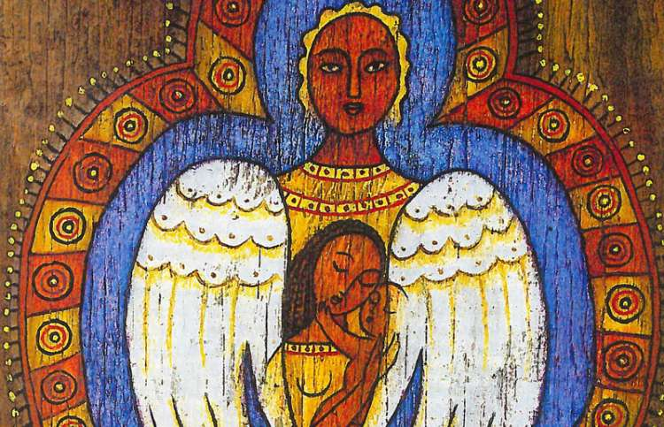 An artist's rendering of an angel enclosing Marion and her child in her wings