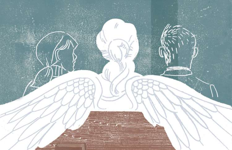 An artist's rendering of an angel seated in a pew between a man and a woman.