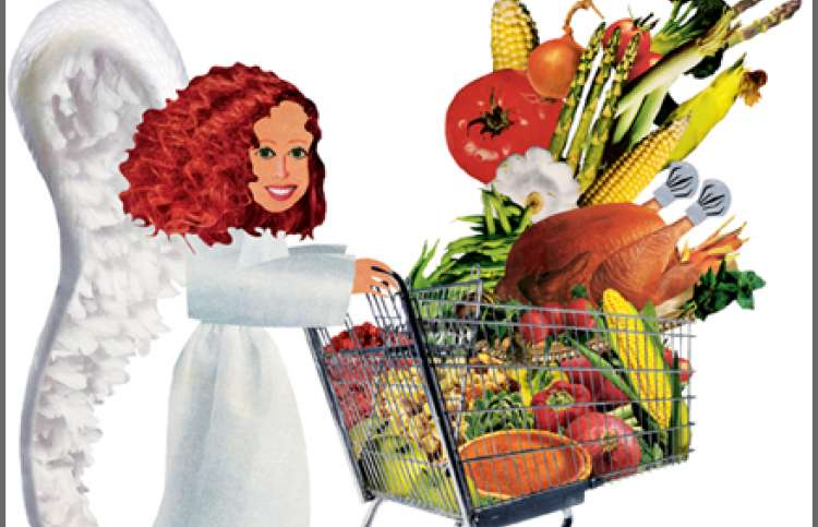 An artist's rendering of an angel with a shopping cart full of groceries