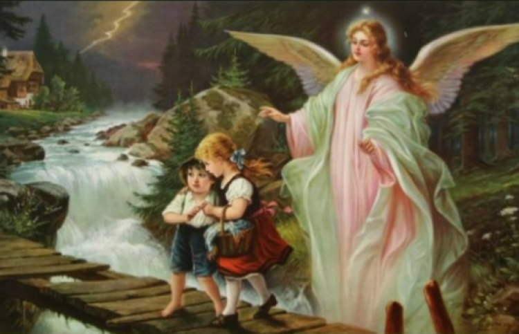 guardian angel protecting two children over a rickety bridge
