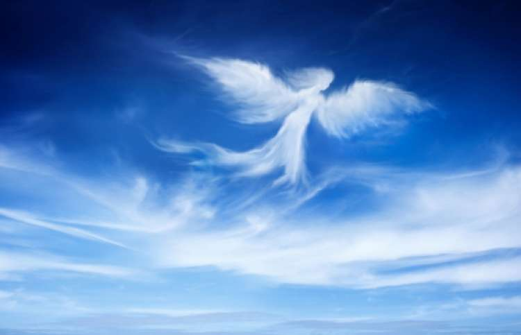 An artist's rendering of an angel in the sky