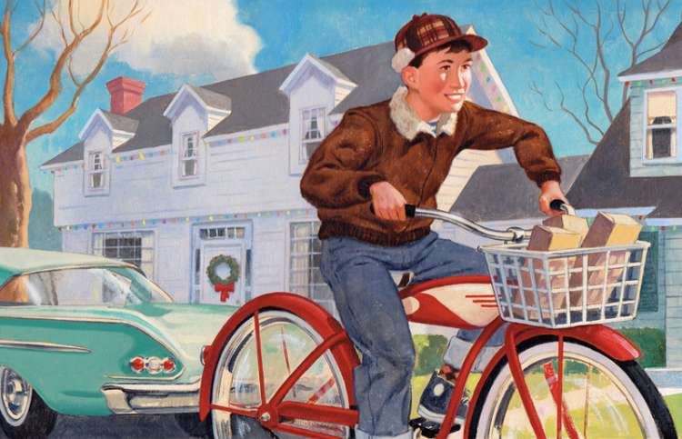 An artist's rendering of a boy pedaling a bike with a basket full of cards