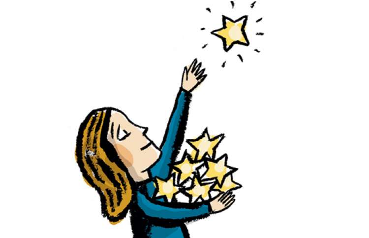 An artist's rendering of a smiling woman gathering stars from the sky