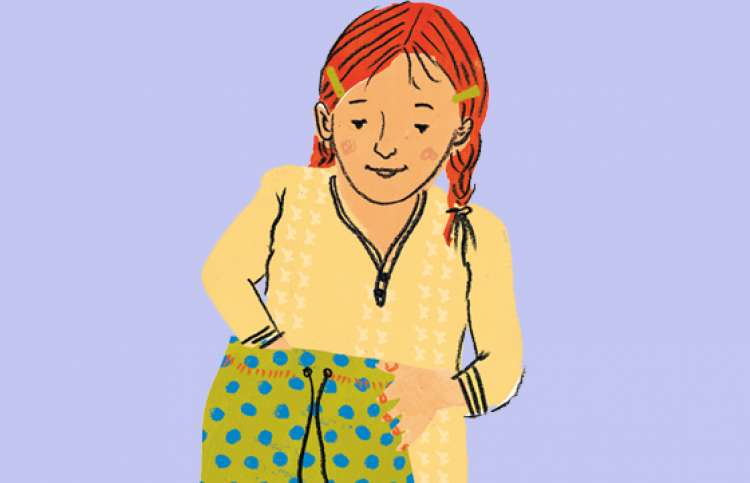Illustration of a girl with pigtails reaching into her bag of hope