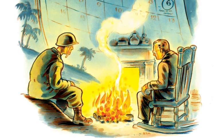 An artist's rendering of David's father and his grandfather by a campfire