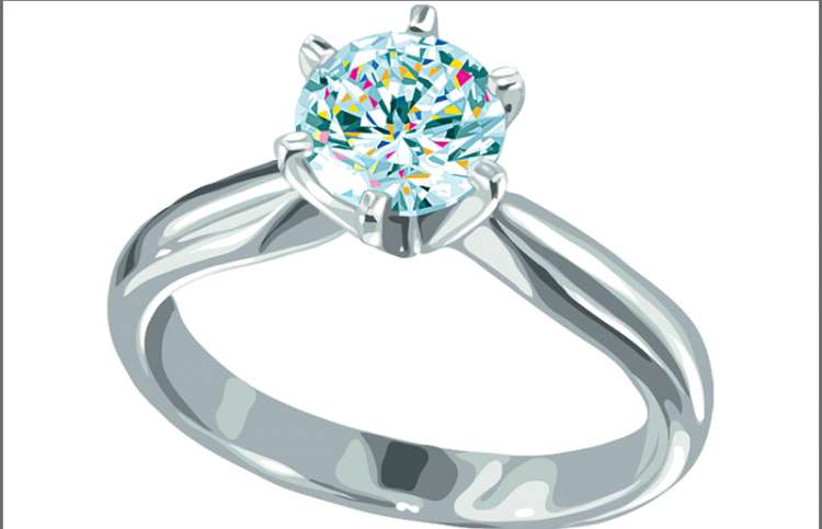 An artist's rendering of an engagement ring