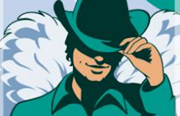Illustration of angel wearing a green hat.
