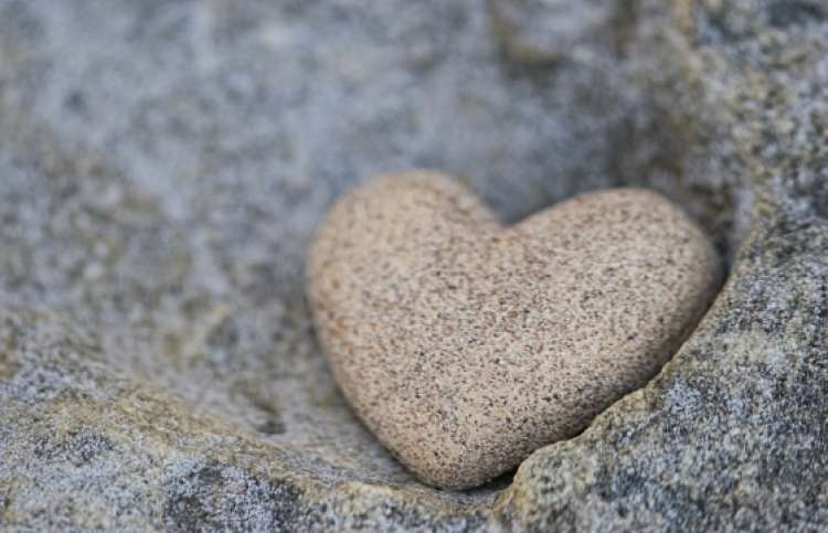close-up of a stone heart
