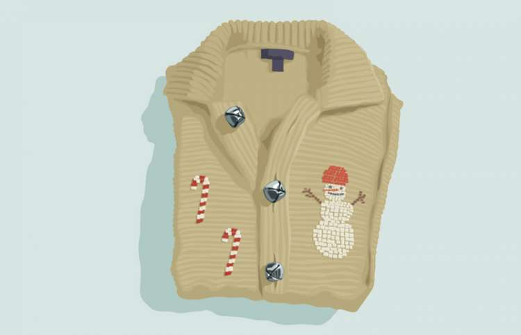 An artist's rendering of a Christmas sweater with jingle bells for buttons