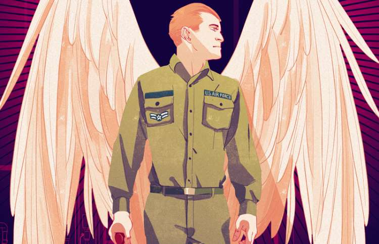 An artist's rendering of an airman angel ready to fix the boiler