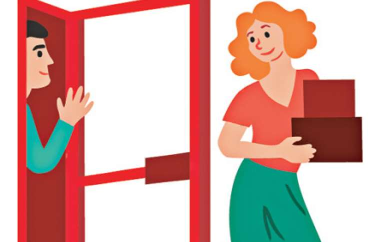 An artist's rendering of a woman holding a door for a man