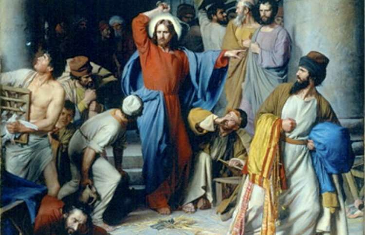 An artist's rendering of Jesus driving out the money changers