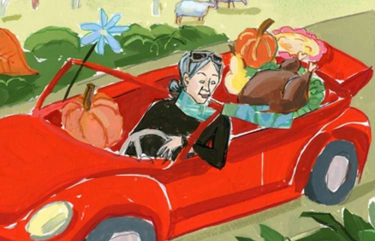 Illustration of a grandmother in car with Thanksgiving fare