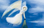 An artist's rendering of an angel shining a light on a search party