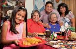 Bernice (in red) with grandniece Laura, mom Paz & Laura's parents Rene & Isabel