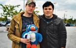 Clint Campbell (left) with Brandon and Penguiny