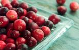A bowl of fresh cranberries