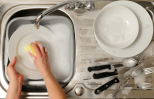 hands in sudsy water, doing the dishes
