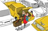 An artist's rendering of woman with shopping cart and kid in crowded parking lot