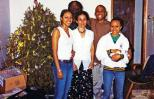 Lilian (center) with (L-R) Louise, Al, Ephraim, Corinne and the Christmas tree