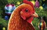 An artist's rendering of Goldie, the Christmas chicken