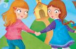 An artist's rendering of two young girls scurrying off to church