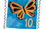 An artist's rendering of a ten-cent stamp with a butterfly pictured on it