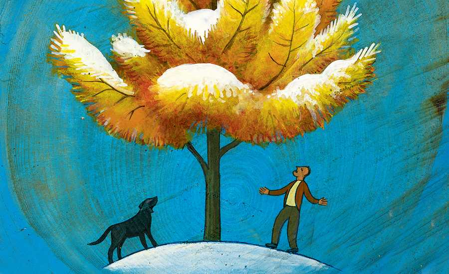 An artist's rendering of a man and his dog looking up at a large tree