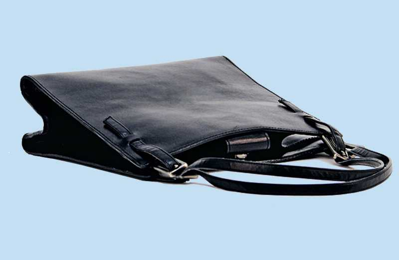 A black leather woman's purse