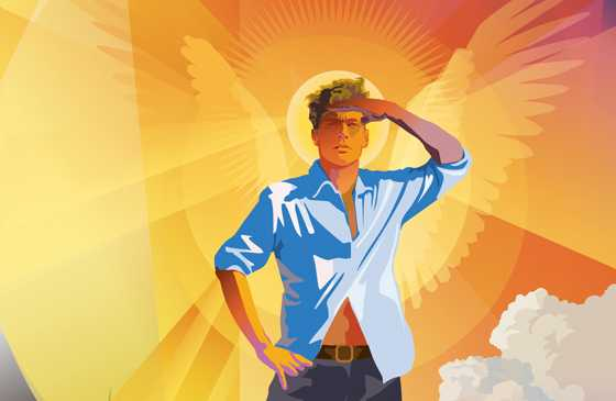 An artist's rendering of a winged young lifeguard on the beach