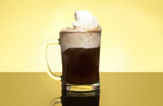 close-up of a root beer float