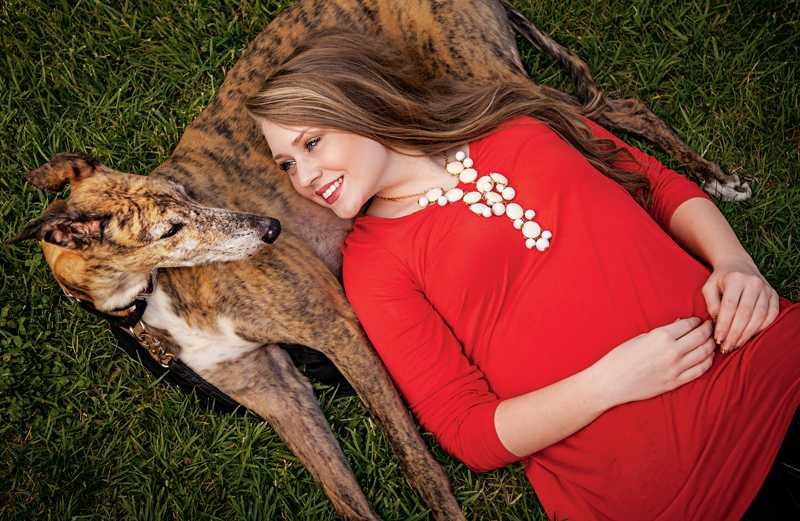 Becca Hart and her greyhound, Mike