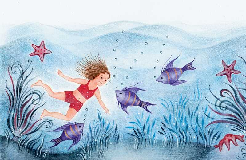 An artist's rendering of a young girl smiling at fishes on the ocean floor