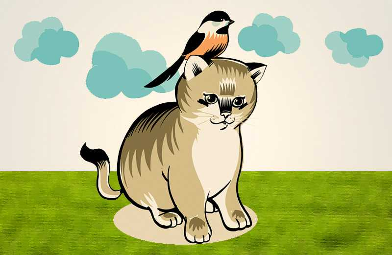 An artist's rendering of a cat with a chickadee perched on its head