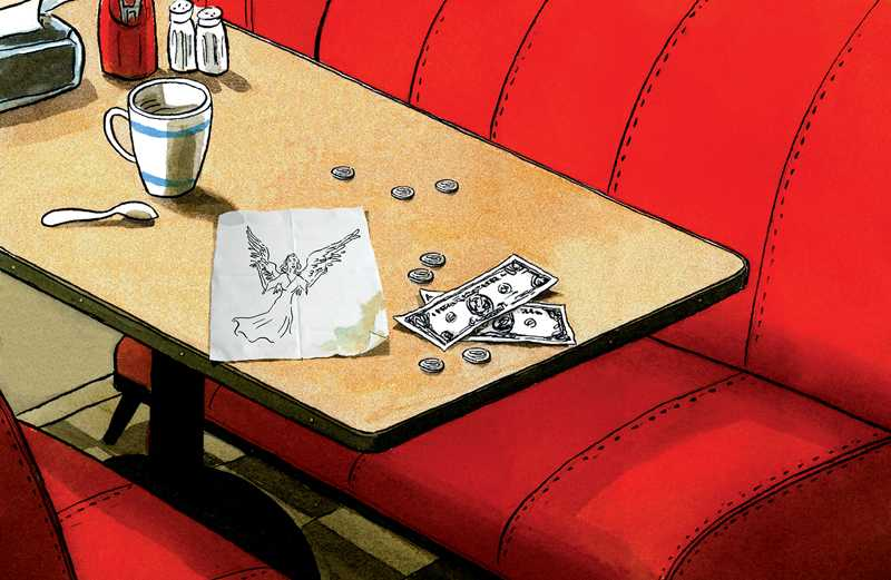 An artist's rendering of a diner table with a generous tip and an angel doodle