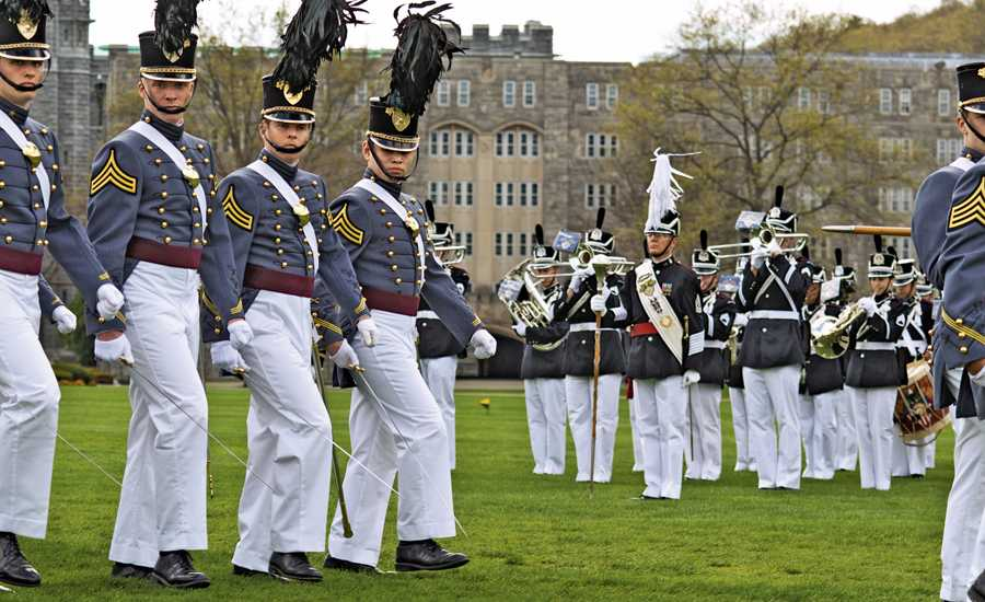 Cadets march in precision on the Plain, West Point's parade field.