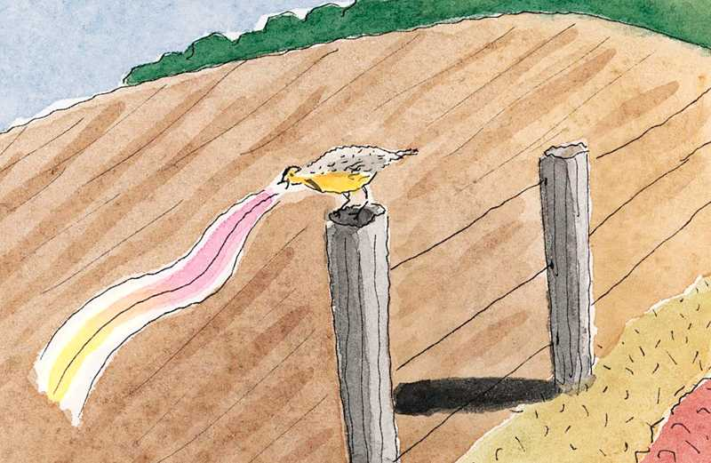 An artist's rendering of a chirping meadowlark