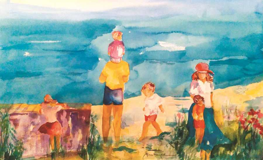 Artist Jan Mayer's painting of a family on a beach