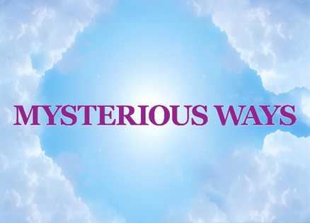 Mysterious Ways icon: Clouds, blue sky and the words Mysterious Ways