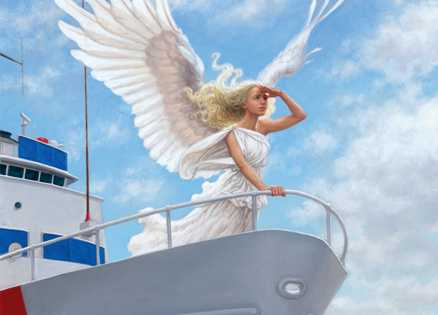 An artist's rendering of an angel searching the horizon from a ship