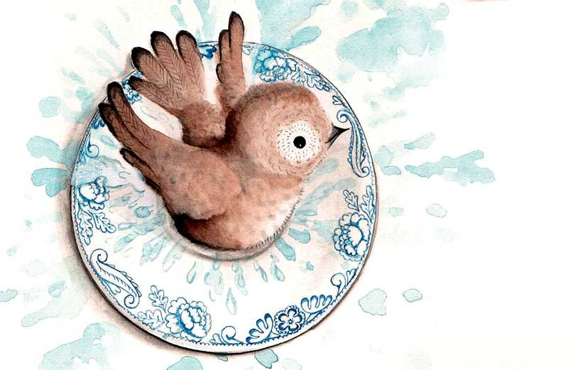 An artist's rendering of a baby bird bathing in a small ceramic dish