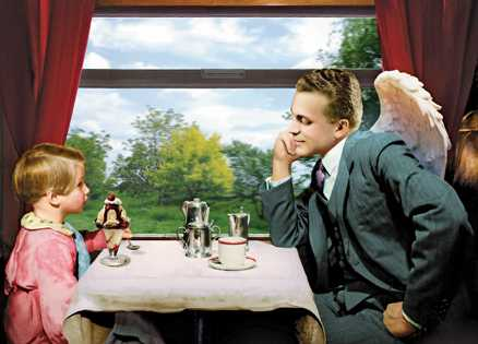 An artist's rendering of Fran and Michael in the train's dining car