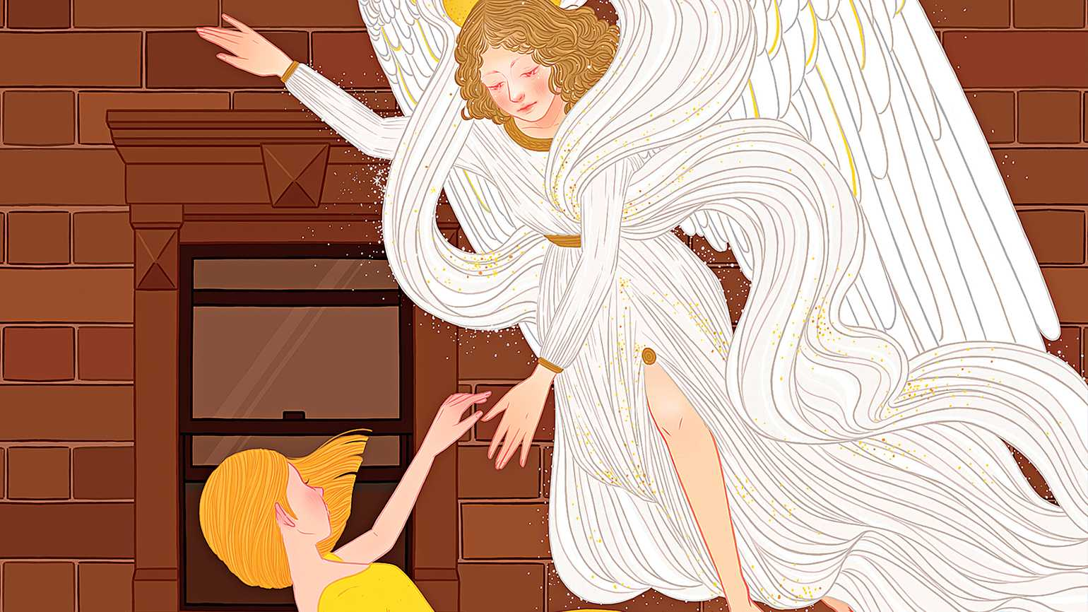 An artist's rendering of an angel reaching for a woman who is falling to the ground