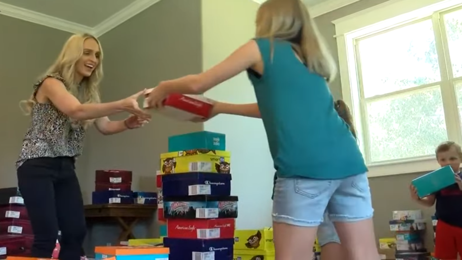 Mom Buys 1,500 Pairs of Shoes to Donate to Her Community