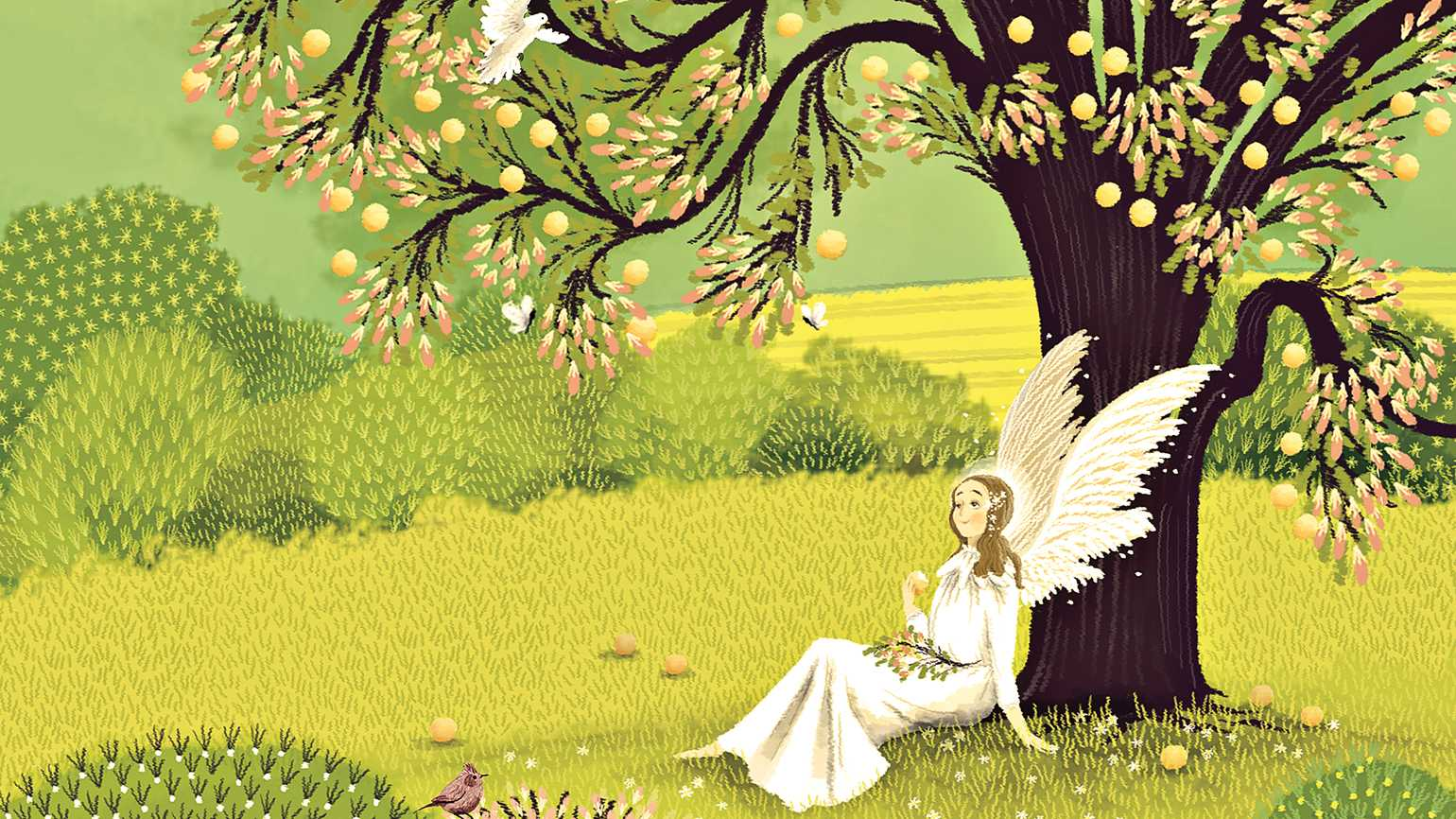 An artist's rendering of an angel sitting under an asian pear tree.