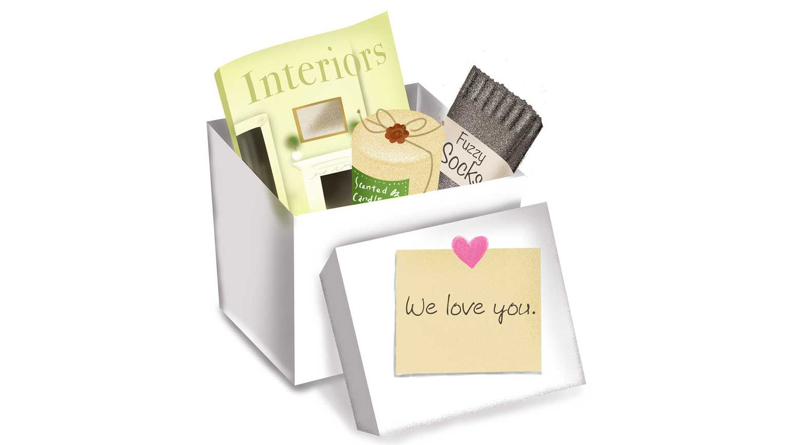 """A box full of care items and a note that says """"we love you"""" attached to the lid."""