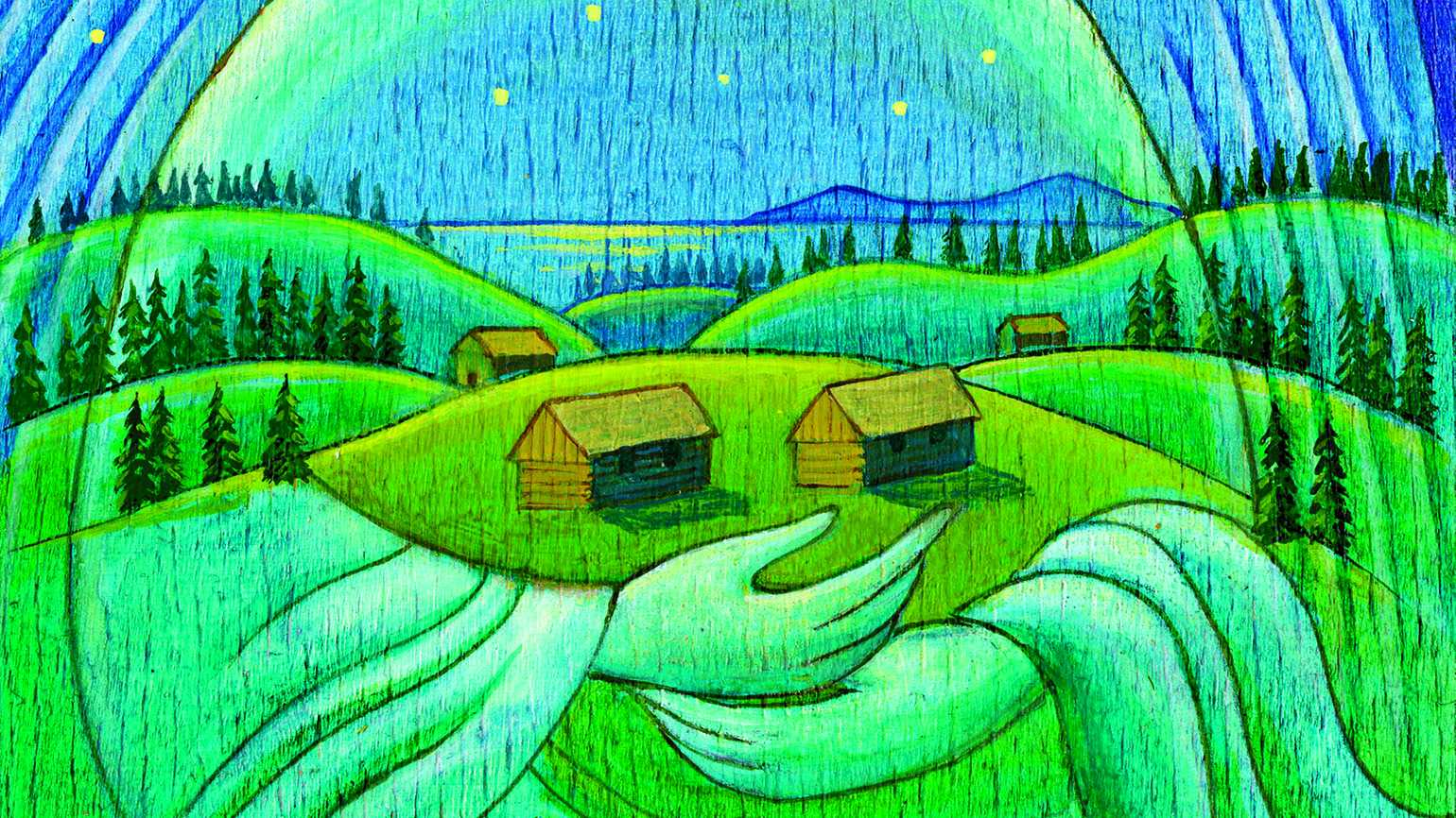 Illustrations of cabins held by an angel