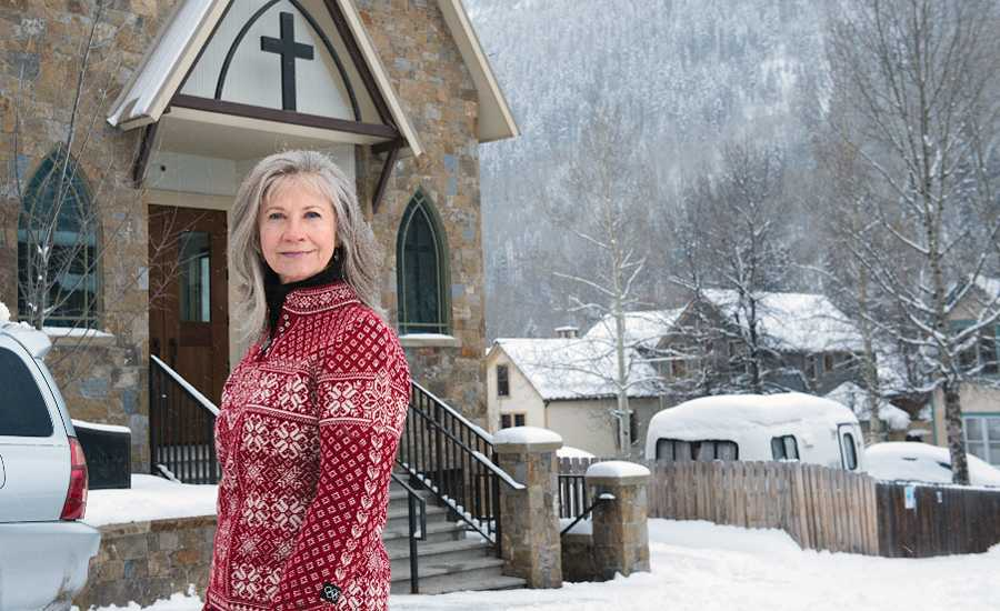 Kimalea Conrad outside her church on a winter's day